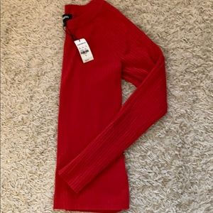 Express red ribbed sweater